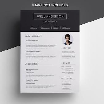 Творческое резюме с дизайном topbar