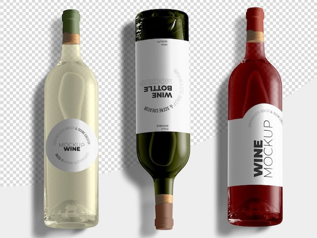 Topview red and white wine bottles mockup template
