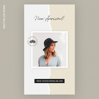 Torn paper fashion instagram story template