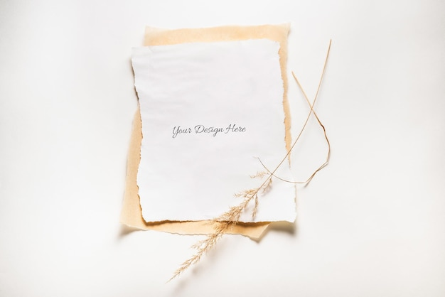 Torn paper mockup isolated with dried grass