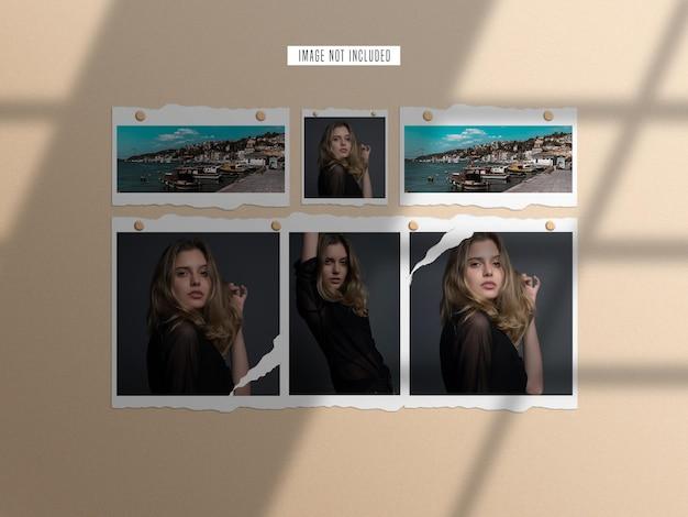 Torn paper photo frame mockup set