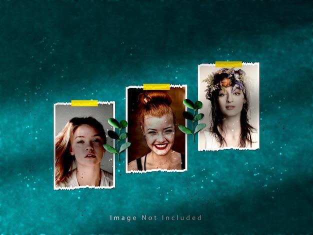 Torn paper photo frame set mockup with shadow overlay effect