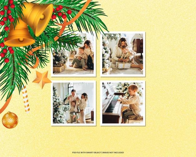 破れたフォトフレームポラロイドテンプレートクリスマスと新年のモックアッププレミアムpsd