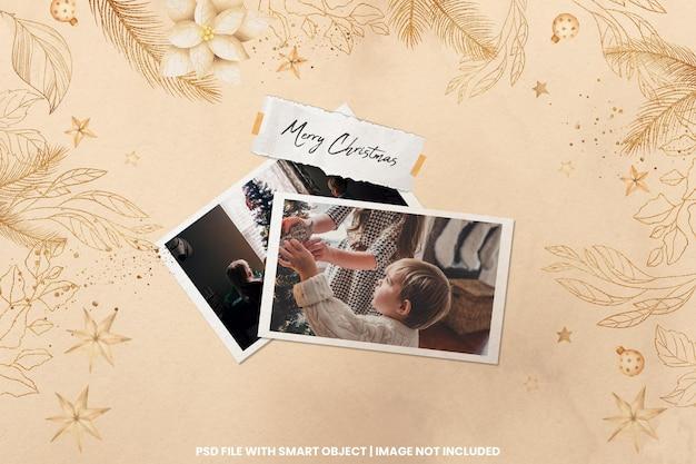 Torn photo frame polaroid template christmas and newyear mockup premium psd