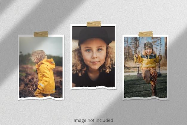 Макет разорванной портретной фоторамки polaroid с наложением тени