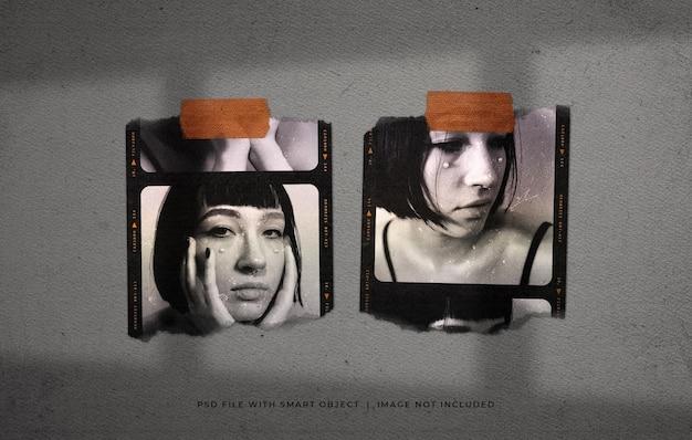 引き裂かれた双子の写真フィルムフレームモックアップ
