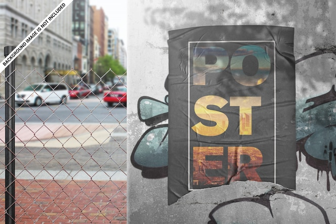 Torn urban poster with glued effect mockup
