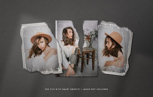 Мокап кадра пленки с порванными винтажными фотографиями и пластиковой пленкой