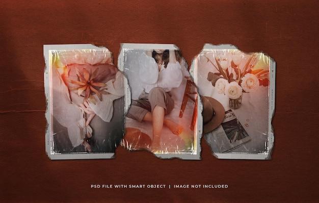 Мокап кадра пленки с разорванными винтажными фотографиями с текстурой пластиковой пленки и утечками света
