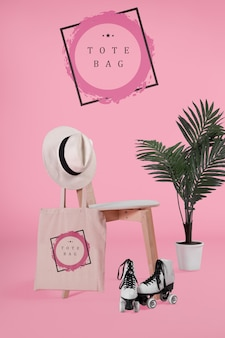 Tote bacg on chair with mock-up
