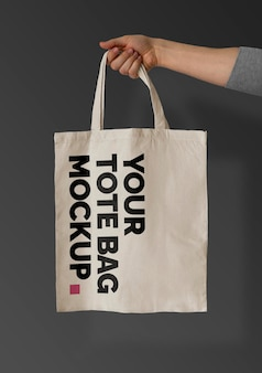 Tote bag on black mockup