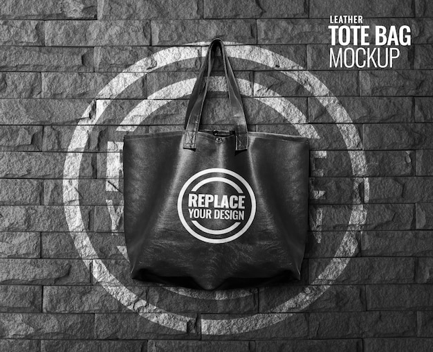 Tote bag on brick wall mockup