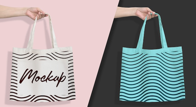 Tote bag mockup hanging white