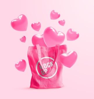 Tote bag mockup valentine