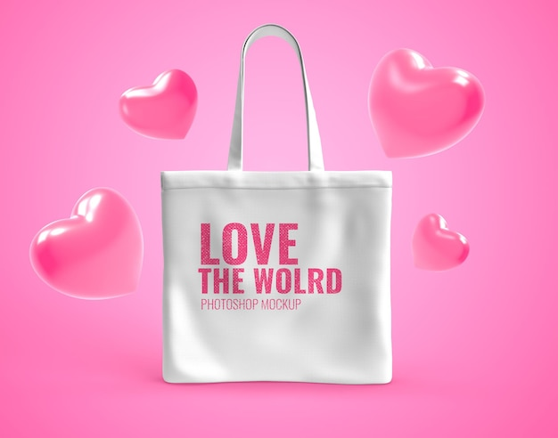 Tote bag with heart balloon mockup