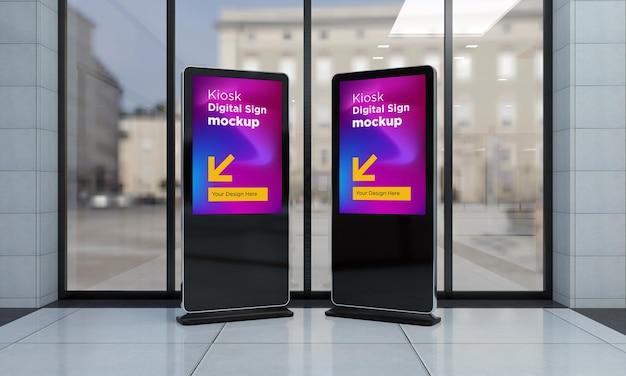 Totem and kiosk digital signage 3d rendered mockup