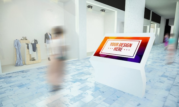 Touchscreen info point mockup at shopping mall in 3d rendering