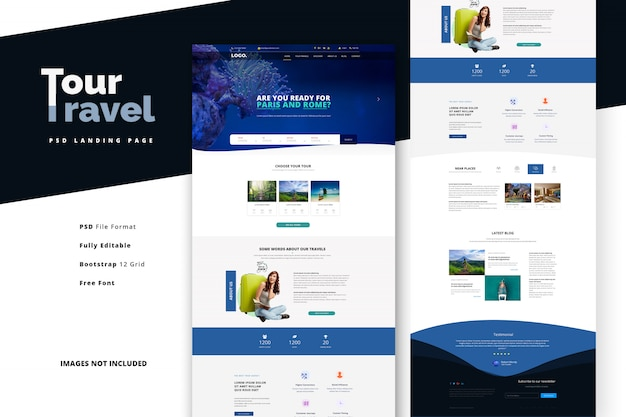 Tour agency for romantic and family vacations landing page