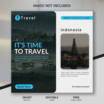 Tour travel social media post template