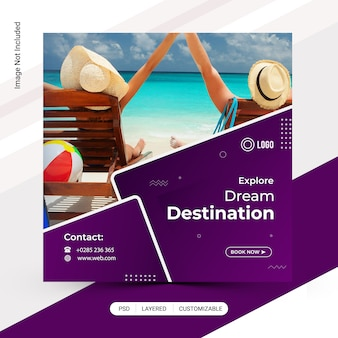 Tour, travelling discount instagram post template