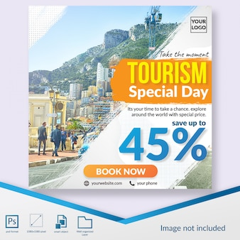 Tourism day special discount offer social media post web banner template
