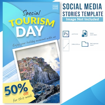 Tourism day travel discount offer social media stories template