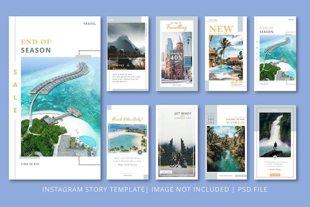 Графический шаблон туристических историй в instagram