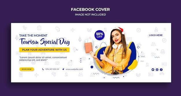 Обложка временной шкалы facebook и шаблон веб-баннера для особого дня туризма