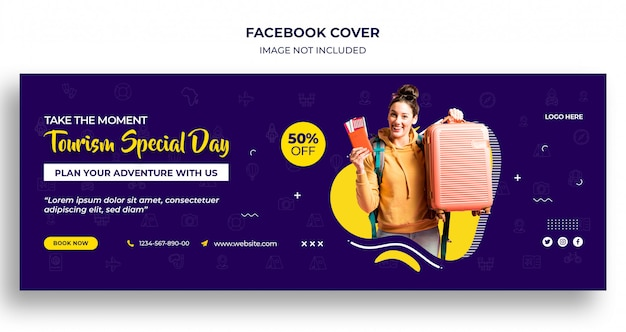 Tourism special day facebook timeline cover or header and web banner template