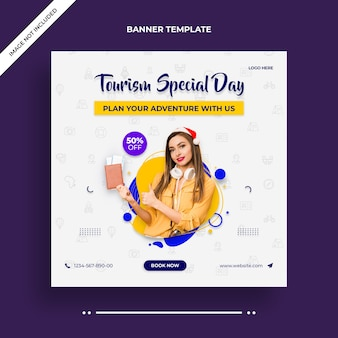 Tourism special day instagram banner or social media post template