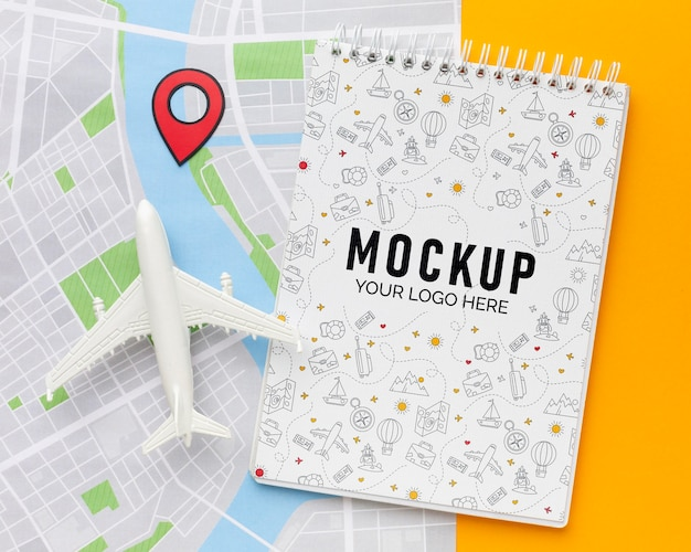 メモ帳のモックアップを使用した観光要素の配置