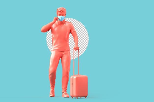 여행 가방을 들고 의료 마스크에 관광입니다. 유행성 여행 개념입니다. 3d 렌더링