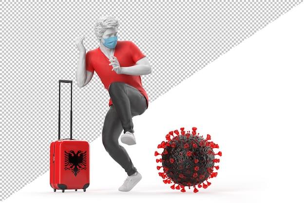 바이러스 분자에 겁에 질린 알바니아로 여행하는 관광객. 전염병 개념입니다. 3d 렌더링
