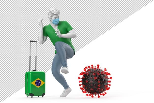 바이러스 분자에 겁에 질린 브라질로 여행하는 관광객. 전염병 개념입니다. 3d 렌더링