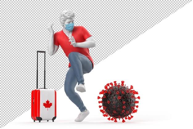 바이러스 분자에 겁에 질린 캐나다로 여행하는 관광객. 전염병 개념입니다. 3d 일러스트레이션
