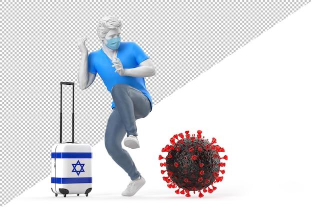 바이러스 분자에 겁에 질린 이스라엘로 여행하는 관광객. 전염병 개념입니다. 3d 일러스트레이션