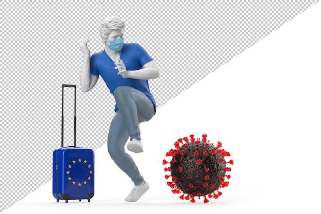 바이러스 분자 팬데믹 개념에 겁에 질린 eu 국기가 달린 여행 가방을 든 관광객