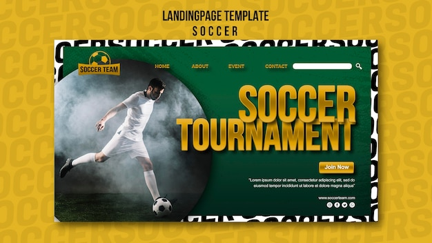 Tournament school of soccer landing page template