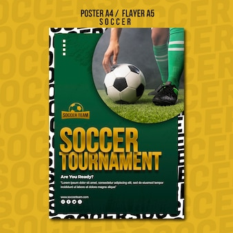 Tournament school of soccer poster template