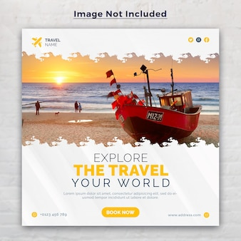 Tours  and travel social media post template