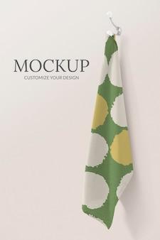 Asciugamano mockup psd, disegno del modello di stampa a blocchi vintage