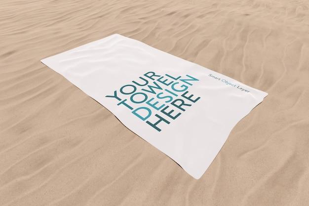 Towel on sand mockup