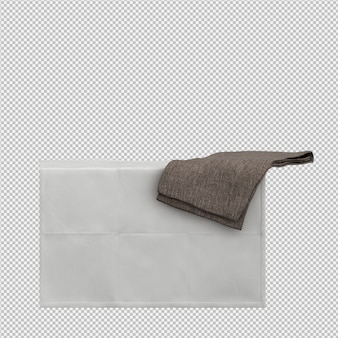 Towels on edge 3d isolated render