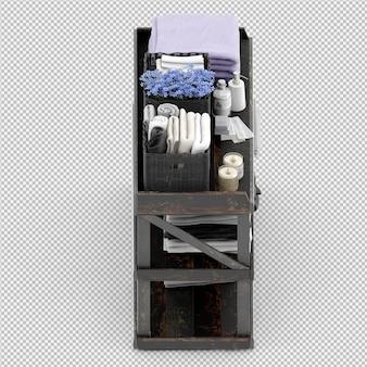 Полотенца на деревянной стойке 3d изолированные визуализации