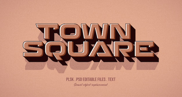 Town square 3d text style effect mockup