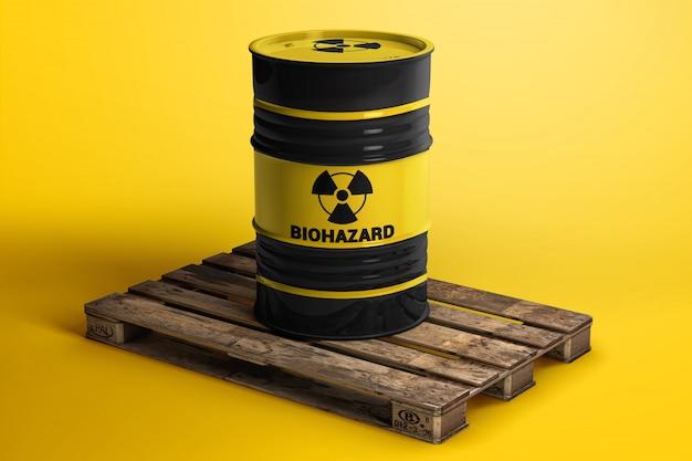 Toxic waste barrel on a wooden pallet mockup