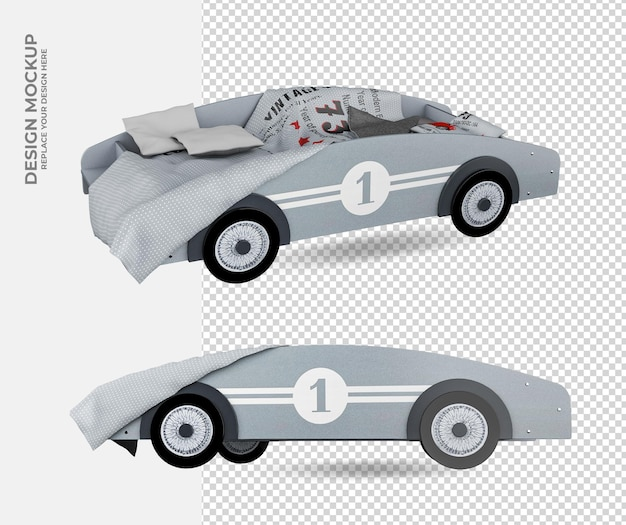 Toy car decoration in rendering mockup