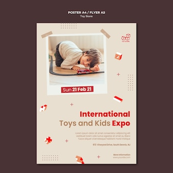 Шаблон рекламного плаката магазина игрушек