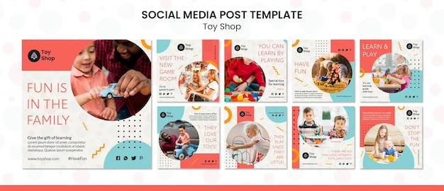 Toy store concept social media post template
