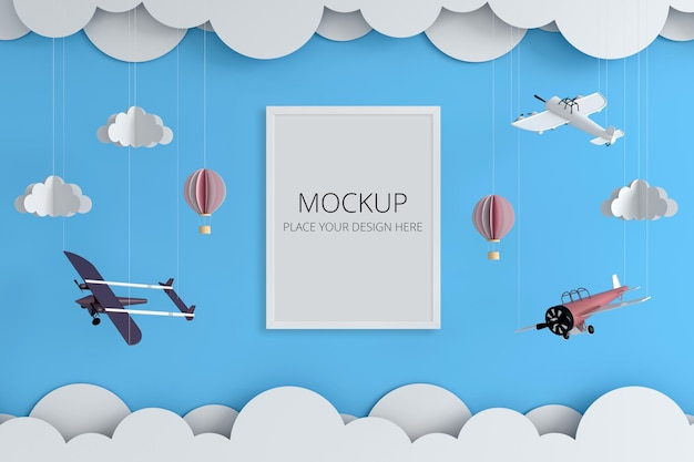 Toys with frame mockup on wall